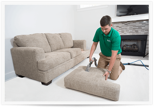 chem-dry tech performing an upholstery cleaning in sandy springs ga