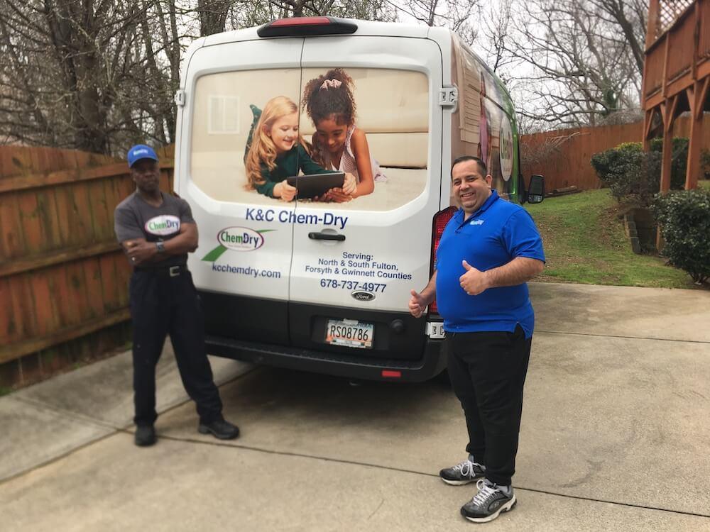 K&C Chem-Dry team in front of white cleaning van in Atlanta