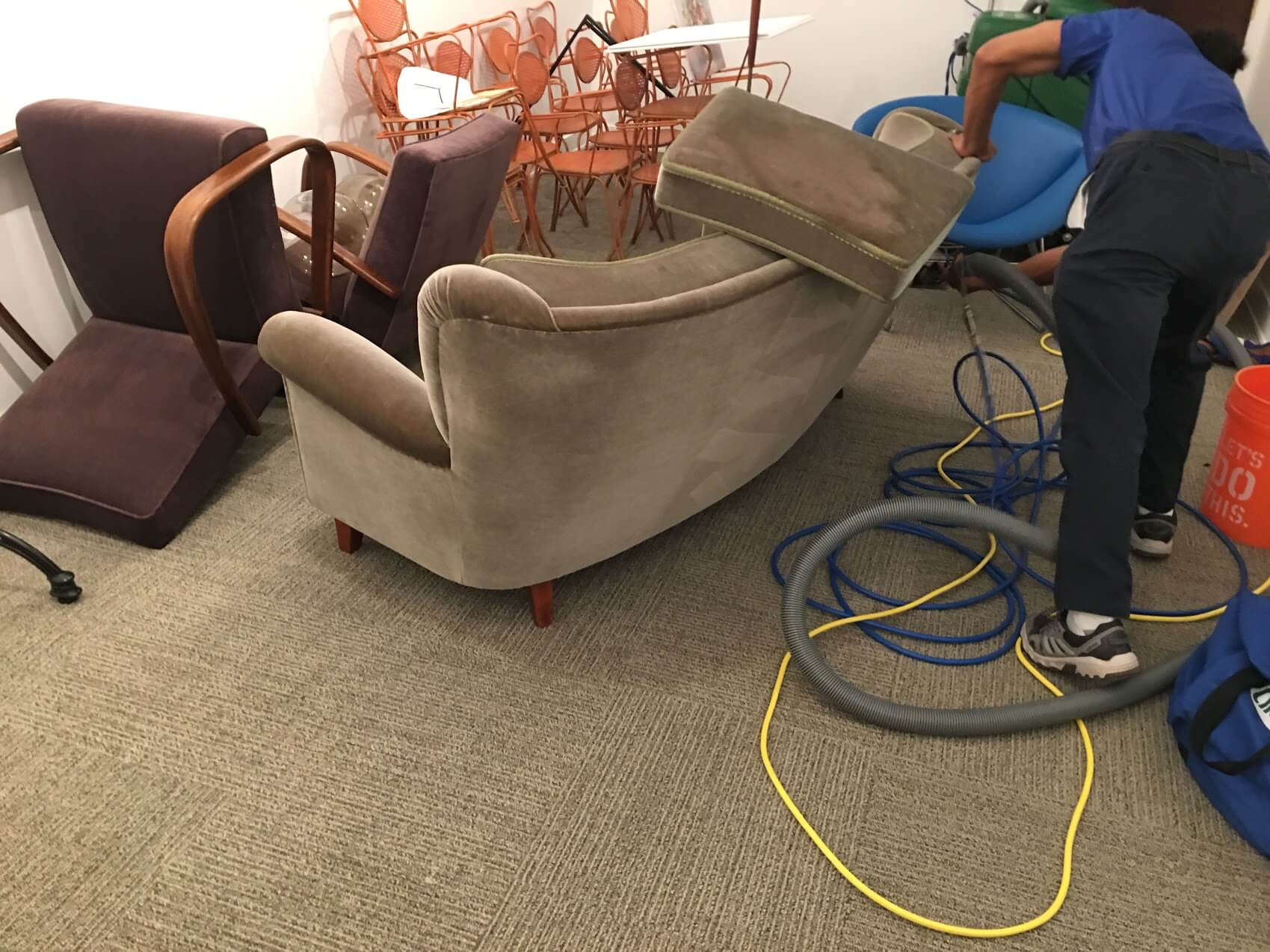 K&C Chem-Dry tech performing upholstery cleaning in forsyth county ga