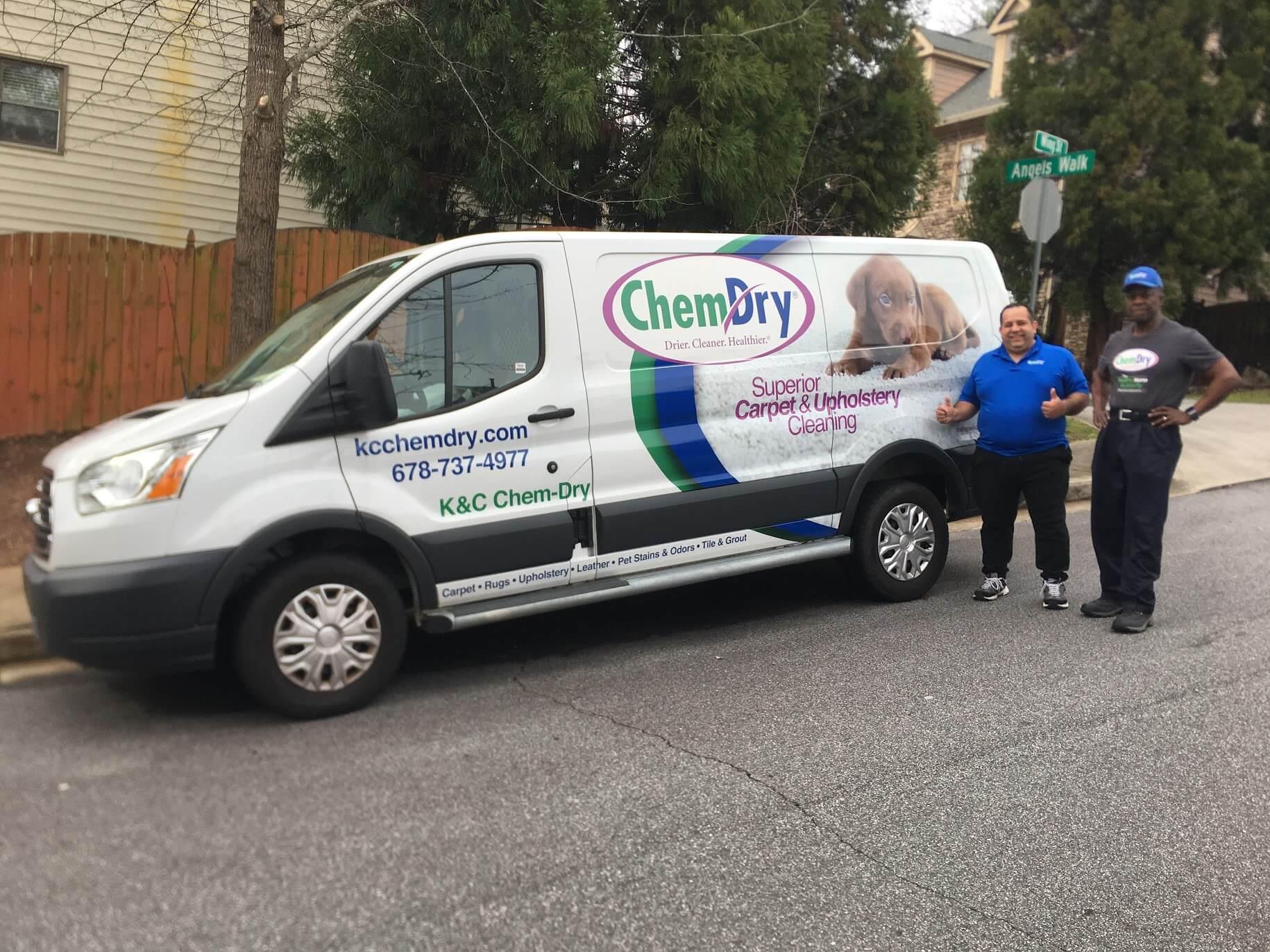 K&C Chem-Dry technicians in front of white van