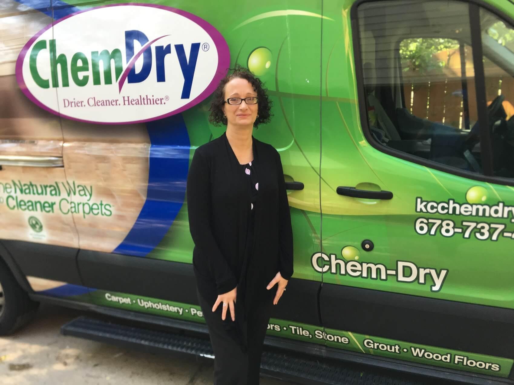 Tanja in front of green K&C Chem-Dry van