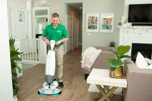k&c chem-dry tech performing wood floor cleaning in sandy springs ga