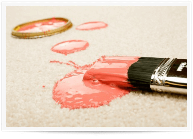 pink paint stain on white carpet